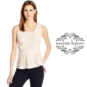 Nanette Soft Peach Lace Peplum Sleevless Top